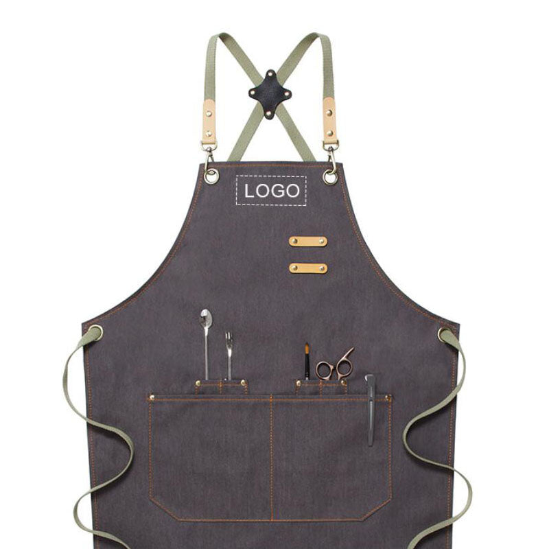 Denim Apron Custom Logo Serve Apron Personalized Studio Apron Chef Apron Work Apron M79-16A - LISABAG