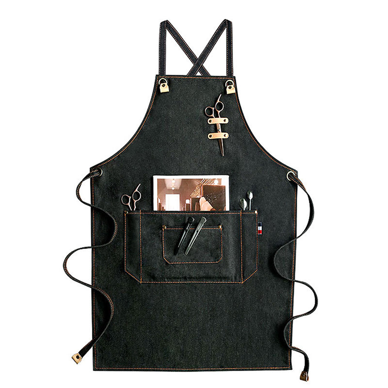 Denim Apron Custom Logo Work Apron Studio Aprons Big Workshop Apron Cooking Apron Chef Aprons M75-15 - LISABAG