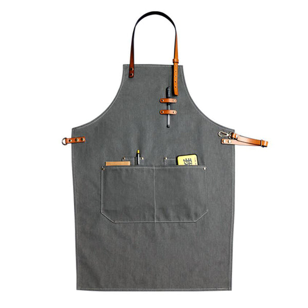 Denim Apron For Chef Apron With Tool Pockets Work Apron Waitresses Apron Kitchen Apron M99-7B - LISABAG