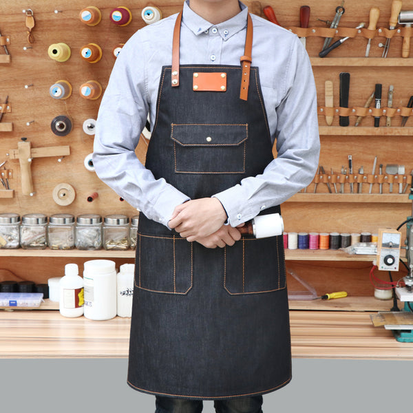 Denim Short Aprons Personalized Black Apron Work Apron Custom Logo Apron Studio Apron ZW129-6U - LISABAG