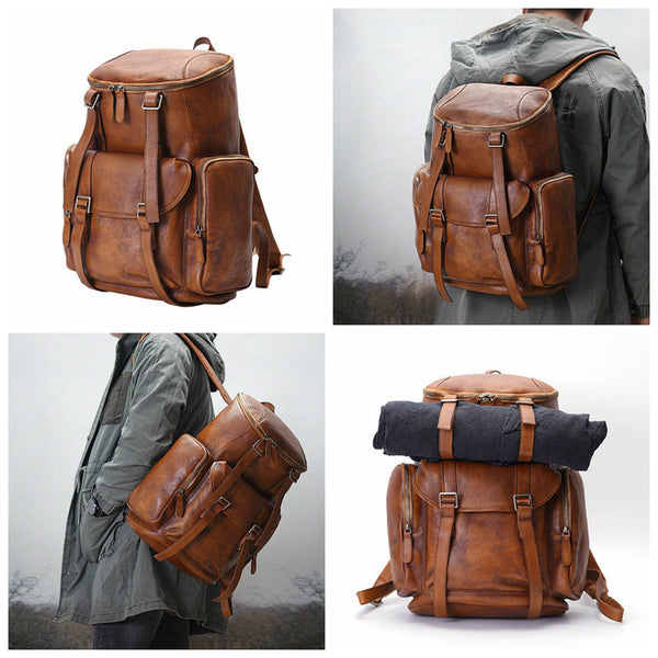 Personalized Leather Backpack Men Travel Backpack Hiking Rucksack Unisex Backpack Weekender Backpack - LISABAG