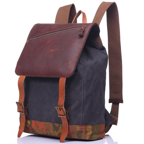 Fashion Army Green Canvas Leather Travel Backpack School Backpack Daypack for Boys FB04