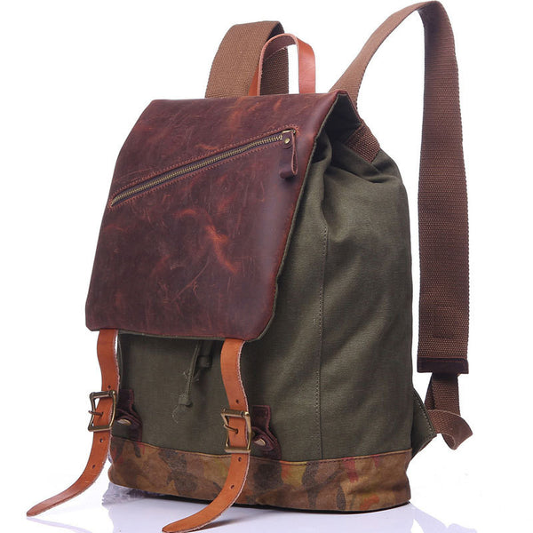 Fashion Coffee Canvas Leather Travel Backpack School Backpack Purse Laptop Backpack FB04
