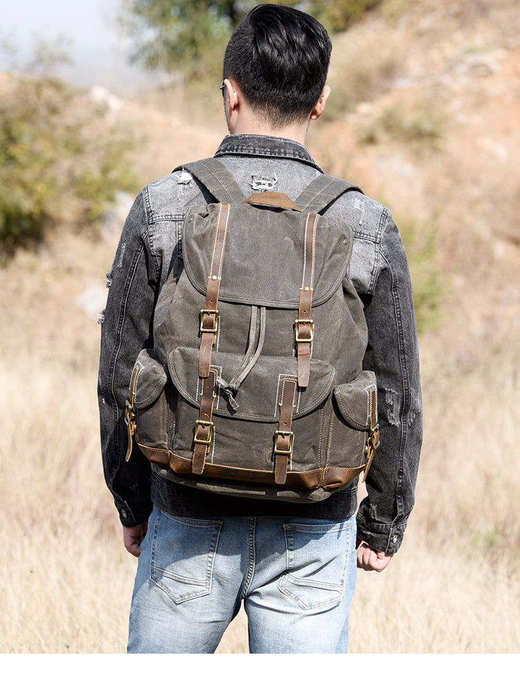 Handcrafted Waxed Canvas Leather Travel Backpack School