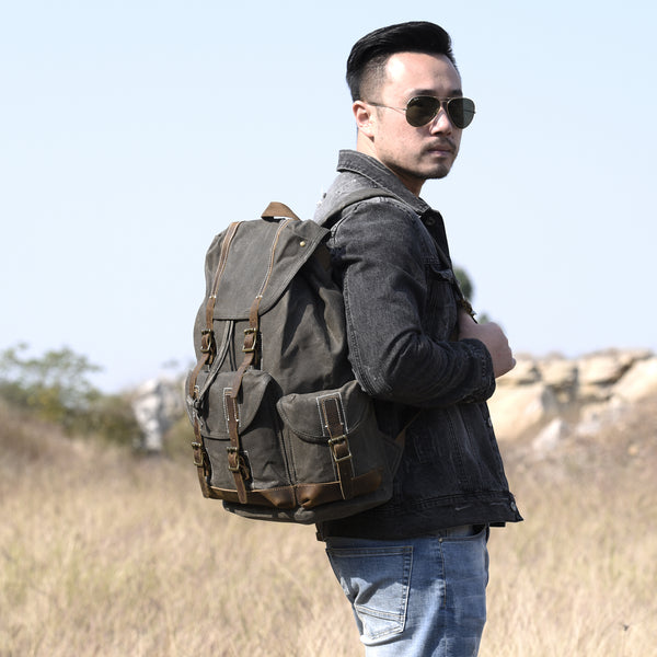 Handcrafted Waxed Canvas Leather Travel Backpack School Backpack Cool Hiking Rucksack MT09 - LISABAG