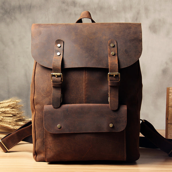 Vintage Full Grain Leather School Backpack Casual Travel Backpack Laptop Bag in Vintage Brown 9452 - LISABAG