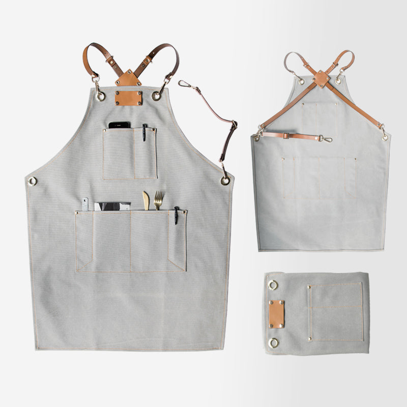Handmade Apron Canvas Apron Restaurant Apron Cafe Apron Stylish Work Apron Long Apron GPG922-X - LISABAG