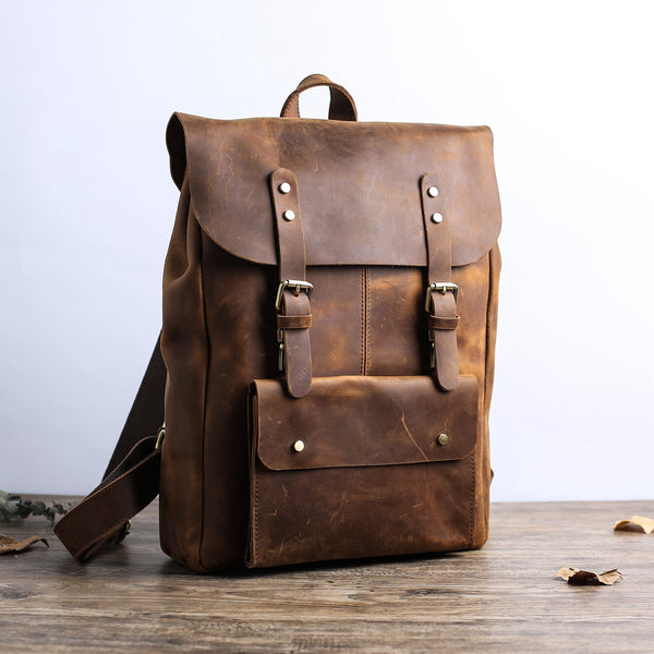 Personalized Leather Backpack Travel Backpack Laptop Backpack Personalized Unisex Leather Backpack