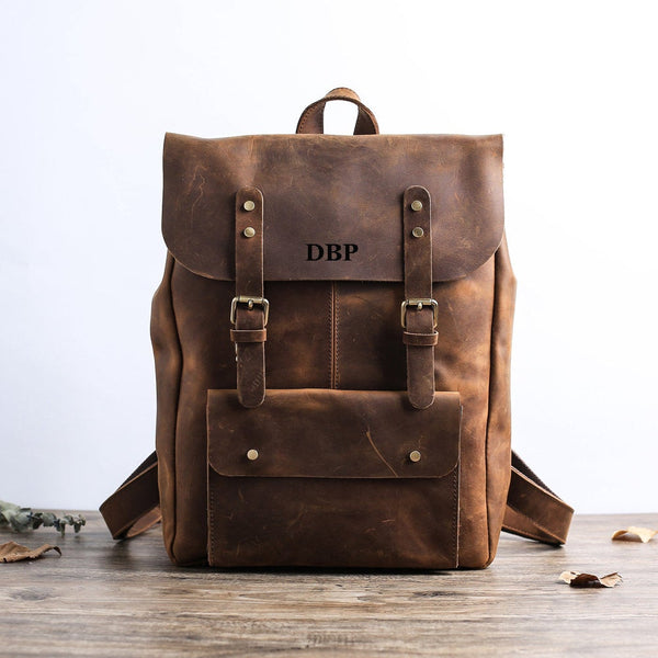 Handmade Full Grain Leather Backpack Travel Backpack Laptop Backpack Personalized Leather Backpack 9452