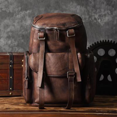 Handmade Vintage Brown Leather Backpack Casual Rucksack Travel Backpack Hiking Backpack MT06