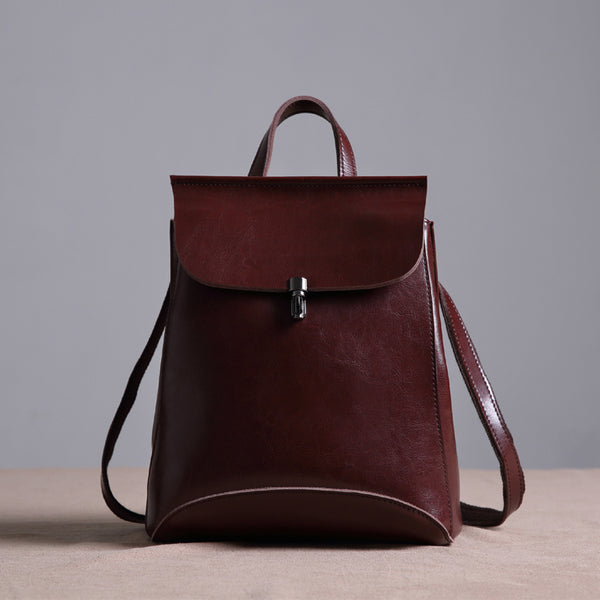 Handmade Women's Fashion Leather Backpack Shoulder Bag Small Daypack 9211 - LISABAG