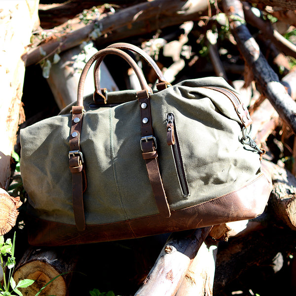 Handmade Military Style Oversized Weekend Travel Duffel Bag, Carry On Bag, Luggage Bag, Christmas Gift for Him 12031 - LISABAG