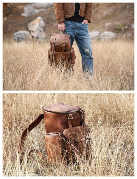 Handmade Vintage Brown Leather Backpack Casual Rucksack Travel Backpack Hiking Backpack MT06 - LISABAG