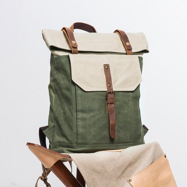 Handmand Canvas Leather Travel Backpack Casual School Daypack Laptop Rucksack YD5191 - LISABAG