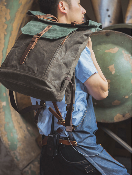 Handcrafted Canvas Leather Travel Backpack Casual Canvas Daypack Laptop Rucksack YD5191 - LISABAG