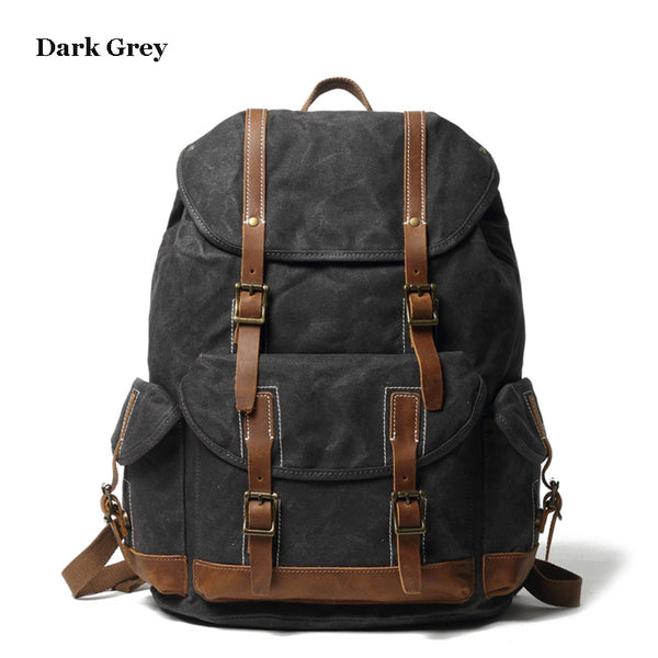 Personalized Waxed Canvas Backpack Large Travel Backpack School Rucksack Laptop Backpack Unisex Weekender Backpack Christmas Gifts