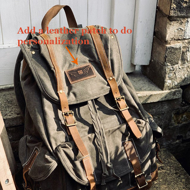 Personalized Waxed Canvas Backpack Large Travel Backpack School Rucksack Laptop Backpack Unisex Weekender Backpack - LISABAG