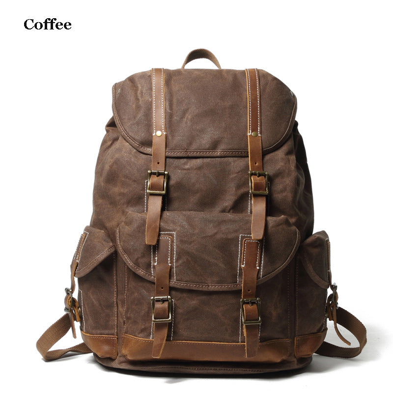 Personalized Waxed Canvas Backpack Large Travel Backpack