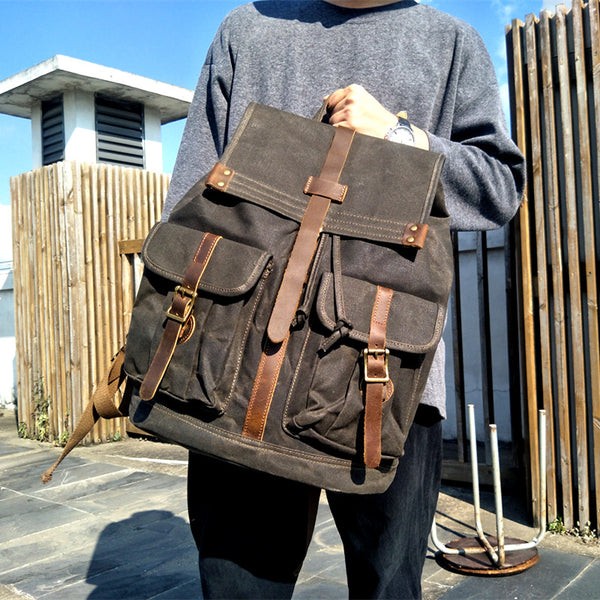 Handmade Large Canvas School Backpack Laptop Backpack Casual Hiking Backpack YC06 - LISABAG