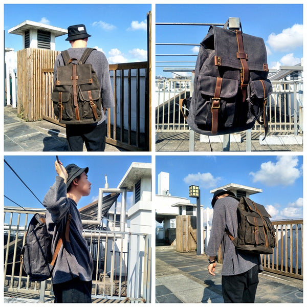Large Waxed Canvas School Backpack Laptop Backpack Travel Backpack Unisex Canvas Backpack