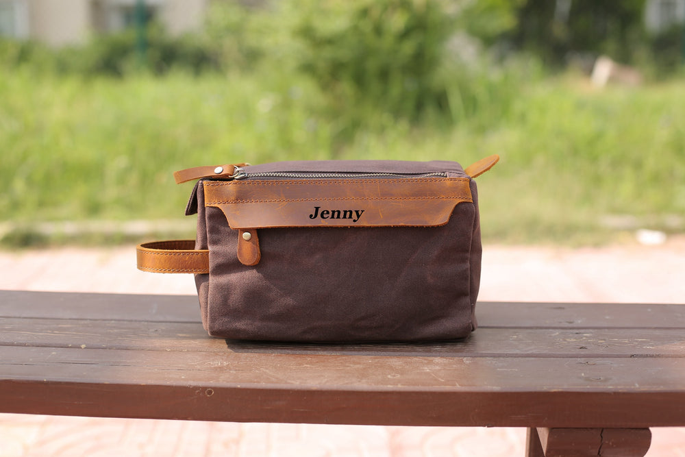 Groomsmen Gift, Personalized Waxed Canvas Toiletry Bag with Monogram, Dopp Kit, Mens Gift, Wedding Gift