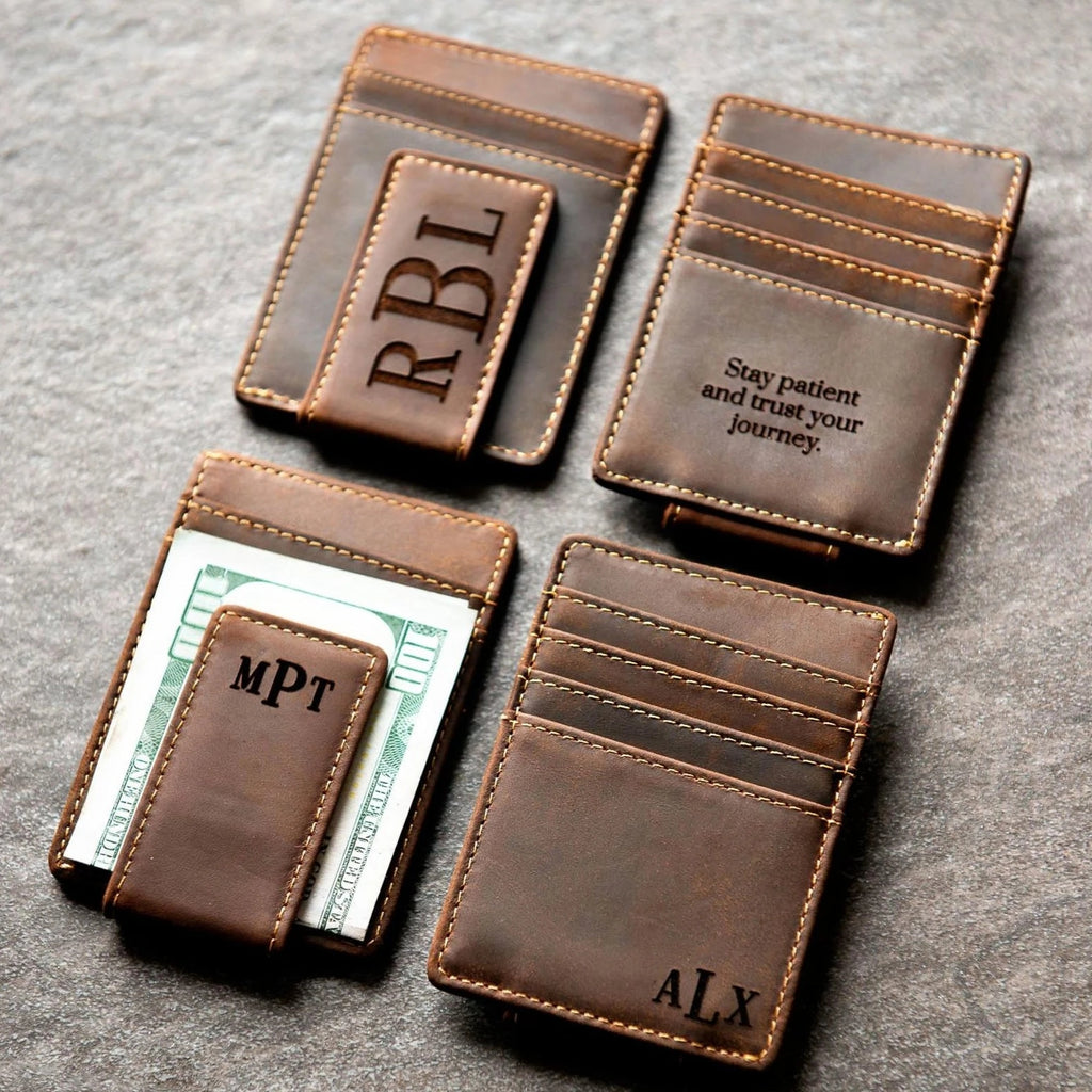 Money Clip Wallet, Engraved Leather Money Clip, Engraved Money Clip, Money Clip, Personalized Leather Money Clip, Mens Money Clip Engraved