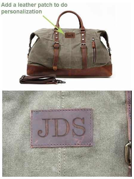 Handmade Cotton Canvas Leather Travel Bag Duffle Bag Holdall Luggage Weekender Bag 12031