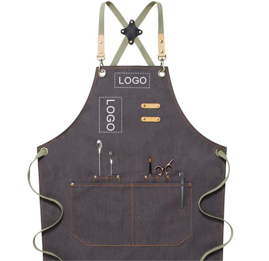 Personalized Chef Apron Custom Logo Denim Apron Workshop Aprons Server Apron Studio Aprons M79-16B - LISABAG