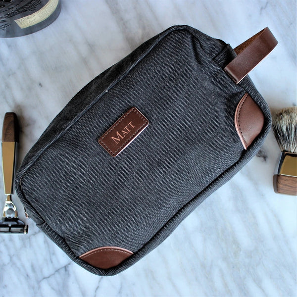 Custom Groomsmen Gift, Canvas Toiletry Bag, Dopp Kit, Wedding Gift, Travel Shaving Bag, Gifts for Men