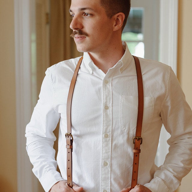 Personalized Gifts For Men Groomsmen Suspenders Wedding Suspenders Handmade Leather Suspenders 0191 - LISABAG
