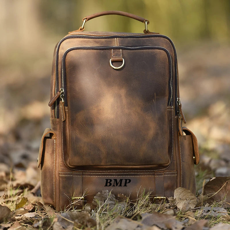 Personalized Full Grain Leather Backpack Travel Backpack Laptop Backpack Daily Backpack Gifts for Men M398