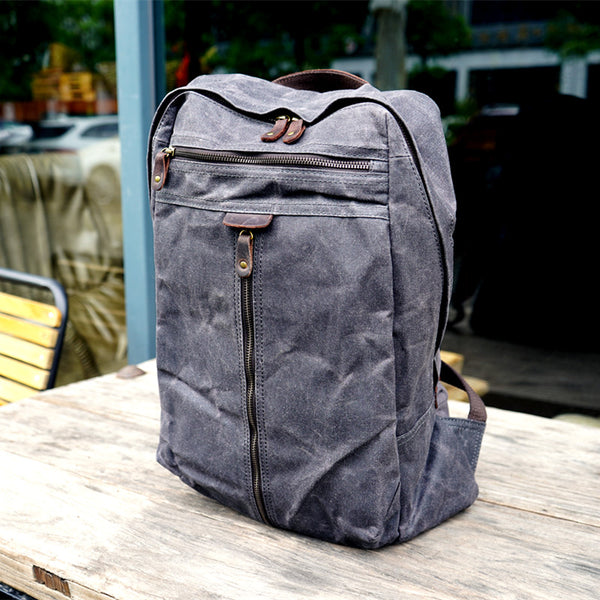 Handmade Waxed Canvas School Backpack Large Travel Backpack 15'' Laptop Backpack Outdoor Bag YC14 - LISABAG