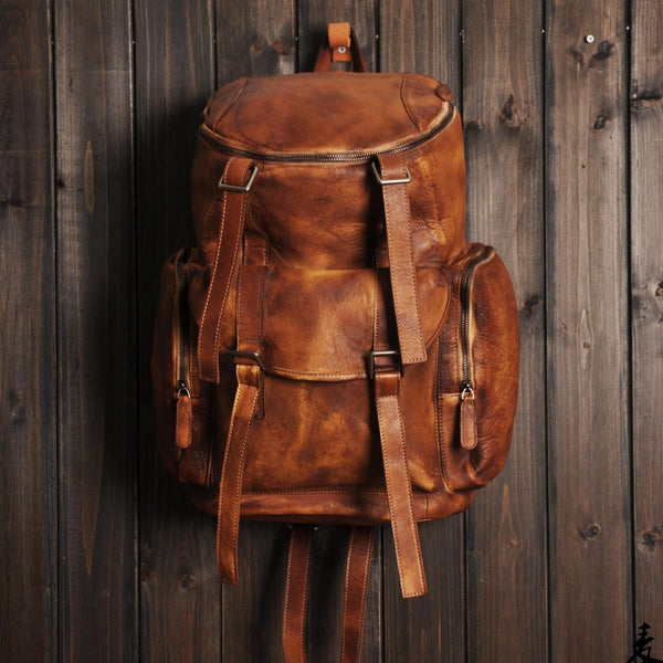 Vintage Handmade Genuine Leather Backpack Casual Rucksack Travel Backpack Hiking Backpack MT06