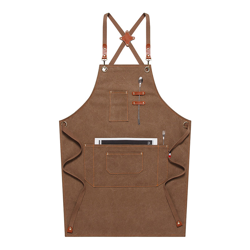 Waterproof Canvas Apron Custom Logo Restaurant Apron Server Aprons Work Apron Shop Apron M79-17B - LISABAG
