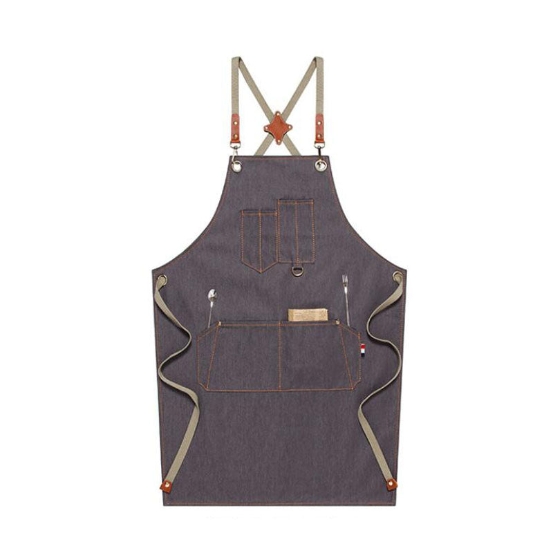 Work Apron Custom Denim Apron Personalized Gardener Apron Crafter Apron Crossback Chef Apron M67C1 - LISABAG
