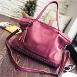 Vintage Rivet Nubuck Leather Women Bag Fashion Tassel Messenger Bag Tote Bags Women Large Capacity Shoulder Bag Bolsas Feminina