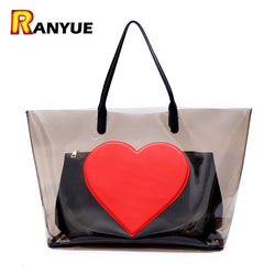 Big Summer Beach Bag PVC Clear Transparent Bags Handbags Women Famous Brand Women Shoulder Bags Large Capacity Composite Bag Set