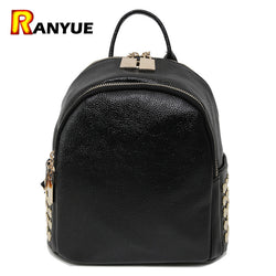 Black Big Small Backpack Women Backpack High Quality PU Leather Mochila Women Backpacks Rivet School Bags Teenage Girl Sac a Dos