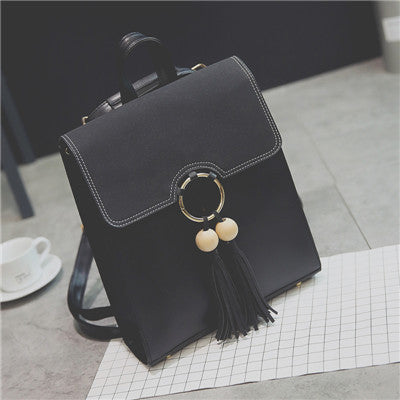 Tassel Women Leather Backpack Teenage Backpacks For Girls Vintage Mochila Escolar Feminina Backpack Sac a Dos Femme Shoulder Bag