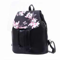 Women Backpack 2016 Leather Mochila Women Floral Printing Backpack Black School Bags Backpacks For Girls Drawstring Mochila Bag