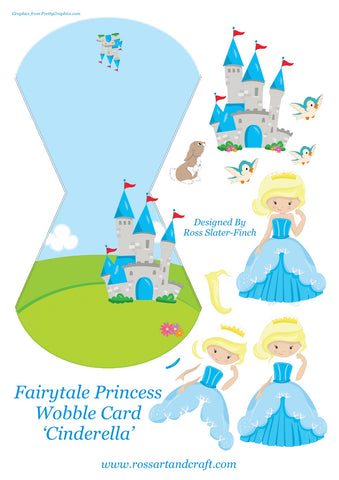 Fairytale Princess - Cinderella Wobble Card Digital Cardmaking Download