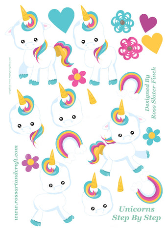 Rainbow Unicorn Step-By-Step Sheet Digital Cardmaking Download
