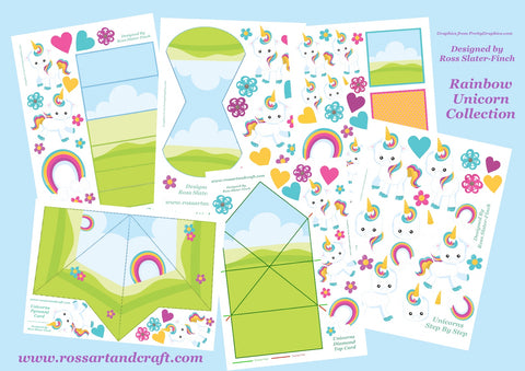 Rainbow Unicorn Digital Cardmaking Download Kit