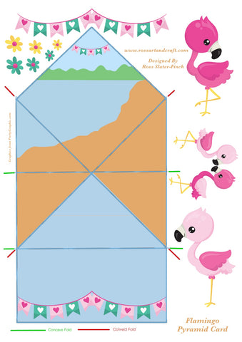 Flamingo Diamond Topped Shaped Card Digital Cardmaking Download