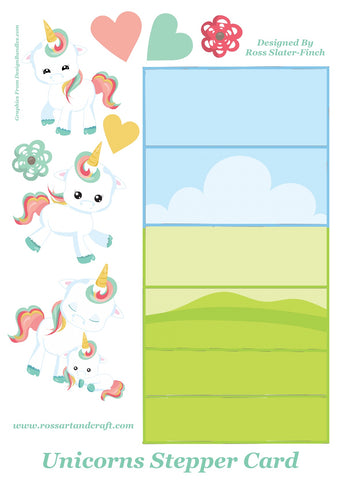 Floral Unicorn Stepper Card Digital Cardmaking Download
