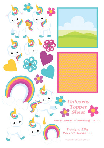 Rainbow Unicorn Card Topper Sheet Digital Cardmaking Download