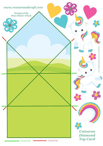 Rainbow Unicorn Diamond Topped Shaped Card Digital Cardmaking Download