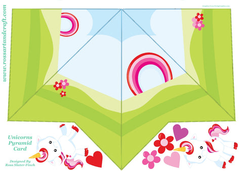 Unicorn Love Pyramid Shaped Card Digital Cardmaking Download
