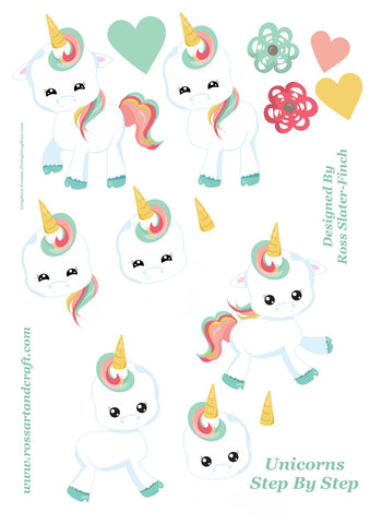 Floral Unicorn Step-By-Step Sheet Digital Cardmaking Download