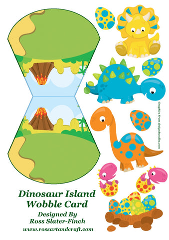 Dinosaurs Wobble Card Digital Cardmaking Download